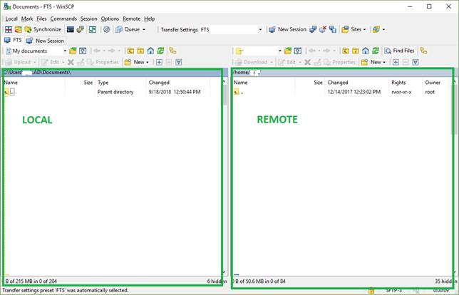 Using WinSCP with FTS